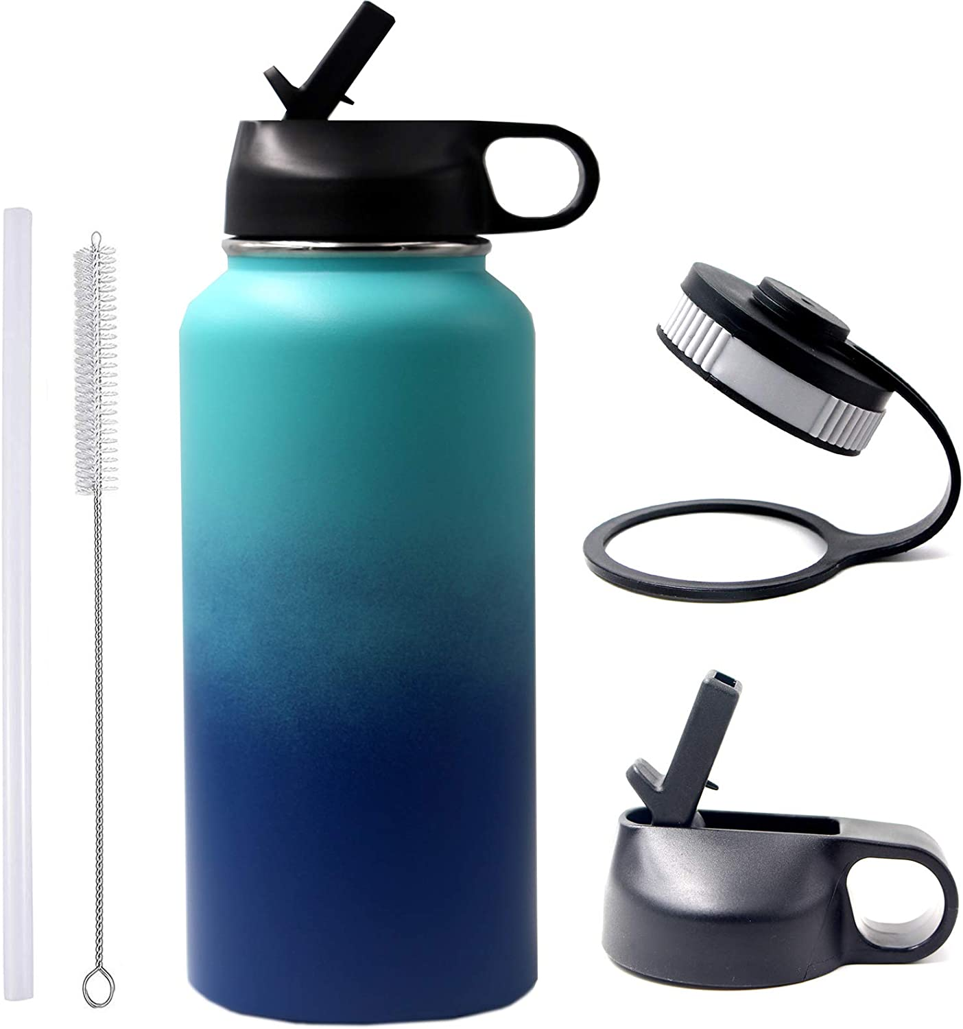 32oz, Black 32 oz Water Bottle BPA Free Metal Bottle with 2 Lids 18//8 Stainless Steel Tumbler Double Wall Vacuum Insulated Hot//Cold Outdoor Flask