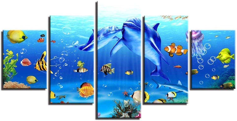servicio honesto YHEGV - Lienzo de 5 Piezas con con con impresión de Delfines, Pintura de Arrecife de Coral sin Marco, para salón, decoración submarina, Frameless, 20x35 20x45 20x55  tienda en linea