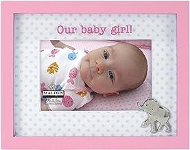 Malden International Designs Memories Our Baby Girl Shadowbox Silkscreened Glass Matted Picture Frame, 4x6, Pink