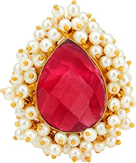 Aheli Meenakari Jewelry Crystal Brass Alloy and Brass Adjustable Ring Indian Traditional Jewelry for Women Girls (Red)