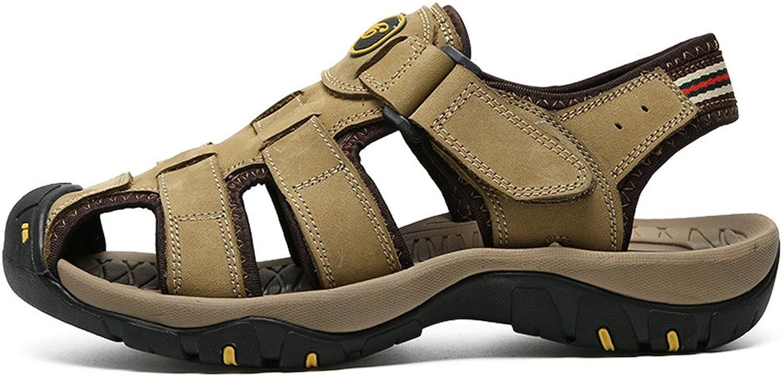 2018 ny Mans Genuine Sunmer strand Slippers Casual Casual Casual Andable No -Slip Soft Flat Closed Toe Sandals (Färg  Khaki, Storlek  9.5 MUS)  här har det senaste