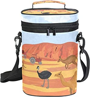 2 Bottle Wine Carrier Australia Kangaroo Ostrich Insulated Leakproof Padded Wine Cooler Carrying Tote Bag for Travel, Camping and Picnic, Perfect Wine Lover Gift