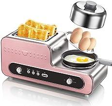Tamaño de la familia Station 3-en-1 desayuno, horno tostador, plancha y calefacción Cafetera, multifuncional automática, Rosa