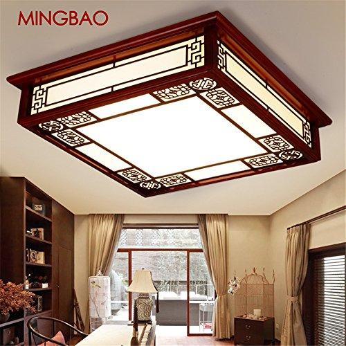 BRIGHTLLT Das Wohnzimmer chinesische Deckenlampe aus Holz quadratisch LED Lampe antik Mahagoni Lampe leuchtet mit einem gemütlichen Restaurant Schlafzimmer, 450 mm Lampen