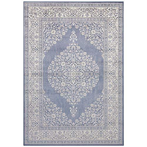 Samt Teppich Orient Keshan Royal Bordüre Ornamente klassisch, Größe:160x230 cm, Farbe:Jeansblau/Silber