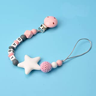 Silicone Pacifier Clip Binky Teether Holder Teething Beads Soothie Universal Fits All Baby Teething Toys for Boys and Girls