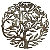 Global Crafts 24' Recycled Handmade Haitian Metal Wall Art Tree of Life with Birds, Classic