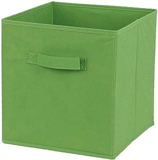 Odoukey Tissu Panier Bin Boîtes de Rangement de Rangement Pliable Cubes Organisateur avec poignées Vertes
