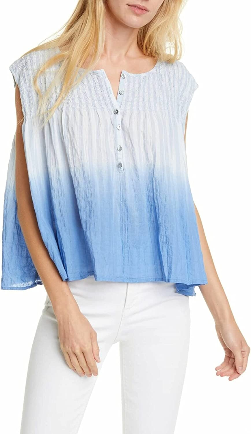 Free People Womens Little Bit of Something Ombre V-Neck Blouse