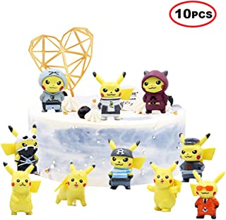10 Pcs Cute Pikachu Cake Toppers,Pokemon Cupcake Toppers Picks for Kids Birthday Party, Baby Shower Cake Decorations for Boy and Girl