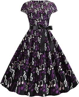 Women High Waist Short Sleeve Musical Notes Print Midi Flare Dress Hepburn Style Sash Waist Belt Evening Dress by Lowprofile