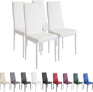 Albatros Milano - Set de 4 sillas de Comedor, Estructura metálica y Piel sintética, Estilo Italiano, Blanco