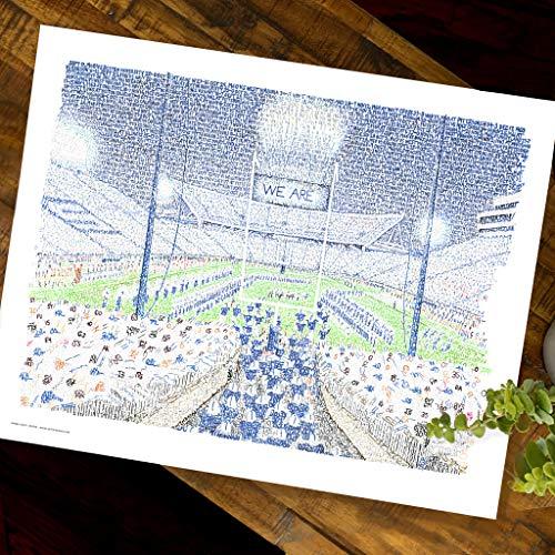 Penn State Beaver Stadium Word Art - Unframed 16x20 - Handwritten with The Scores of Every Win Since...