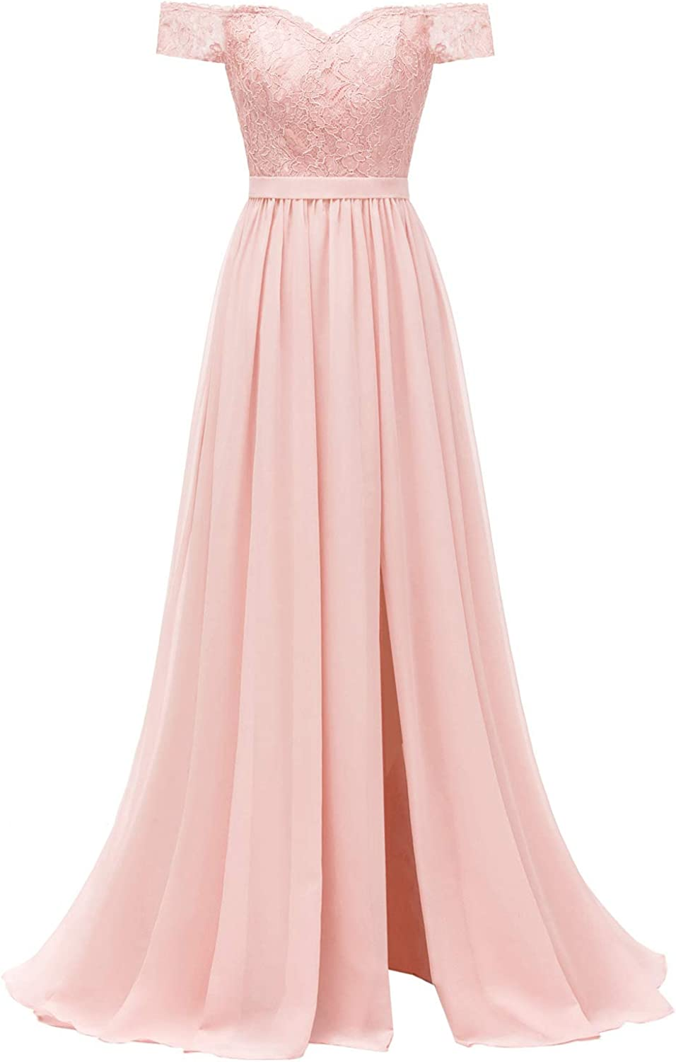 Molisa Off Shoulder Lace Bridesmaid Dress with Slit Chiffon Prom Dresses Long Wedding Evening Gown