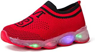 🌟 Sherostore 🌟 Glowing Shoes Colorful LED Luminous Shoes Kids Girls Boys Breathable Flashing Fly Knit Sneakers