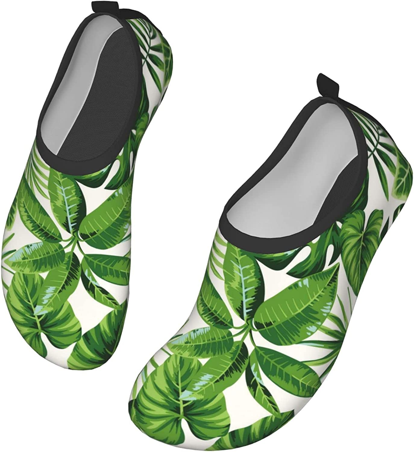 Green Palm Leaves Quick-Dry Water Shoes for Womens Mens Barefoot Swim Surf Yoga Exercise