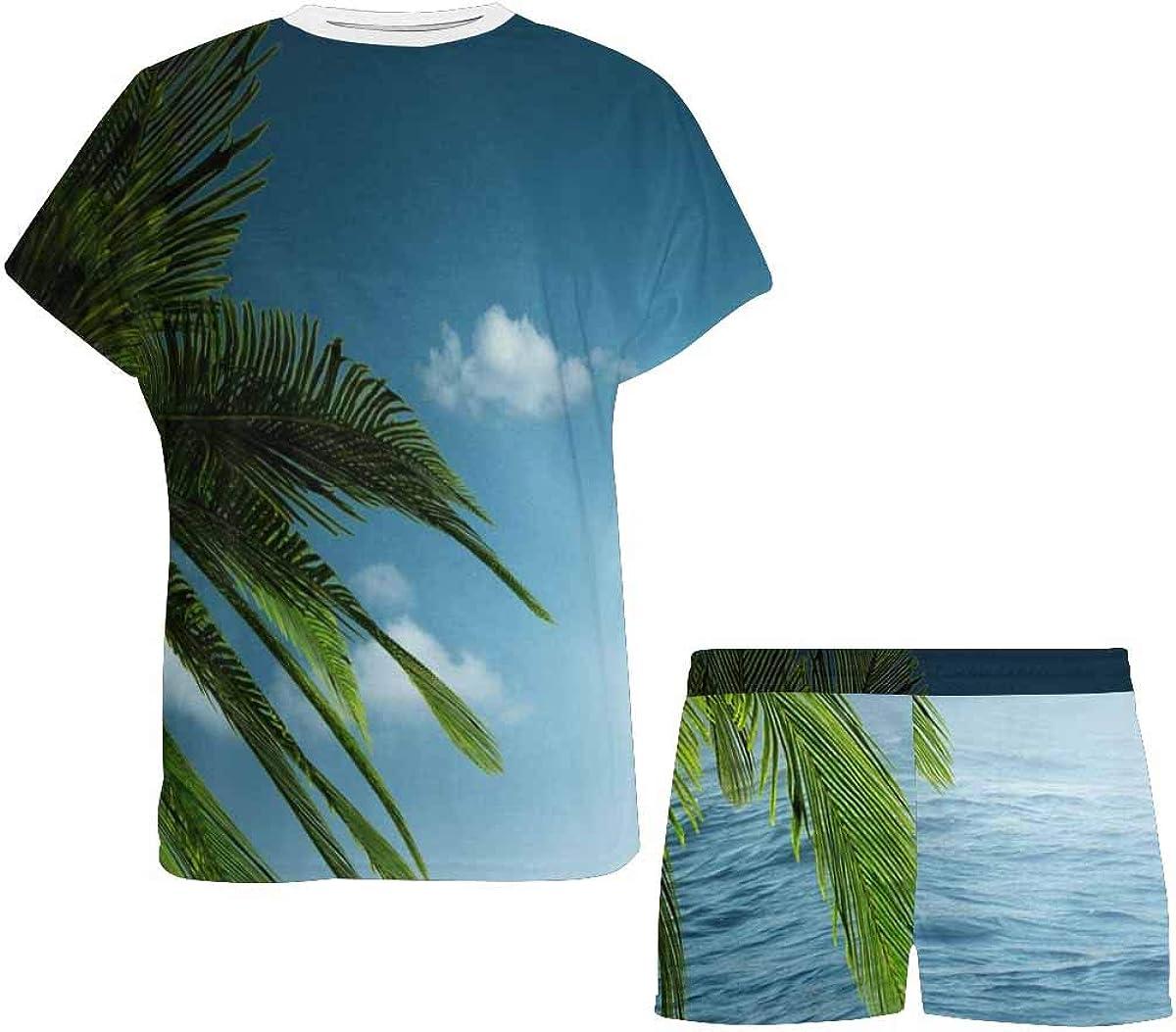 InterestPrint Ocean Palm Tree Women's Breathable 2 Piece Shorts Pajama Sleepwear Set