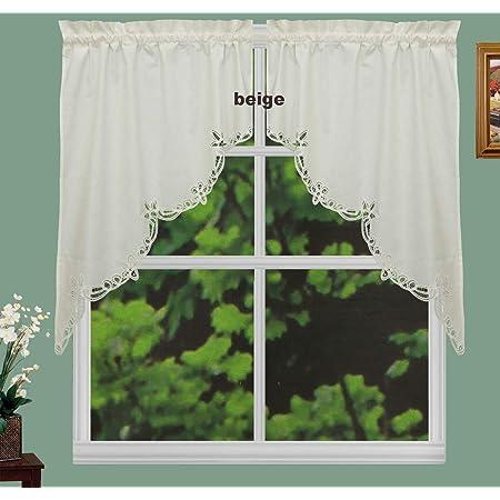 Amazon Com Creative Linens Battenburg Lace Kitchen Curtain 38 L Swags Ecru Beige Dining