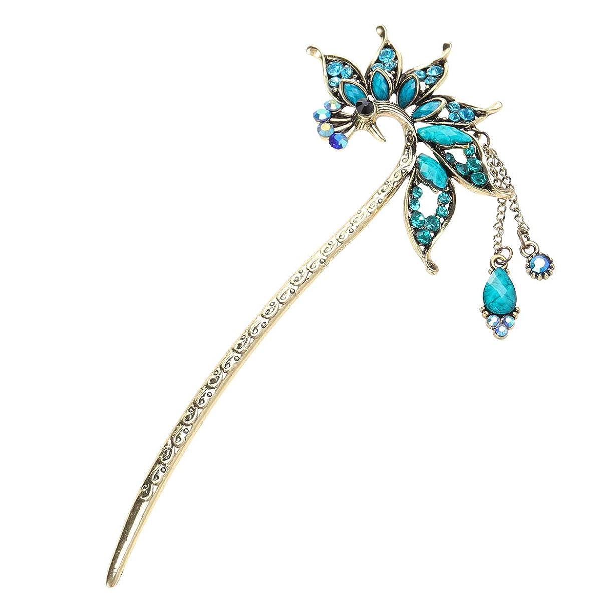 影ダニ差LURROSE クリスタル孔雀とレトロな孔雀のヘアピンヴィンテージヘアスティック中国の古典的な髪の箸(ブルー)