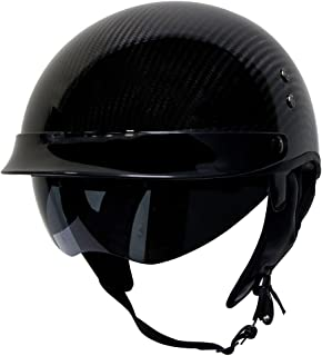 Voss 888CF Genuine Carbon Fiber DOT Half Helmet with Drop Down Sun Lens and Metal Quick Release - S - Gloss Carbon