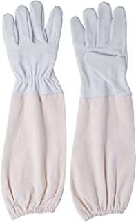 Sponsored Ad - Annmexx Beekeeping Gloves, Upgraded Goatskin Leather Beekeeper's Glove for Hands with Long Canvas Sleeve an...
