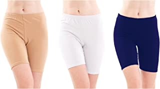 Pixie Biowashed 220 GSM Cotton Lycra Cycling Shorts for Girls/Women/Ladies Combo (Pack of 3) Beige, White and Blue - Free Size