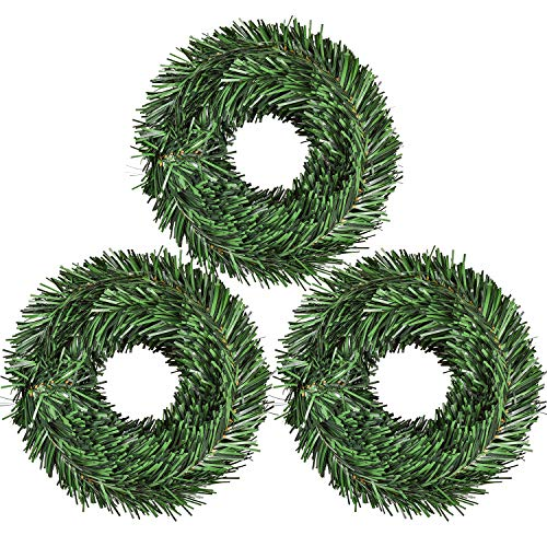 DearHouse 60Feet Christmas Garland, 3 Strands Artificial Pine Garland Soft Greenery Garland for Holiday Wedding Party,Stairs,Fireplaces Decoration, Outdoor/Indoor Use