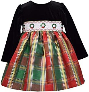 Bonnie Jean Girl's Holiday Christmas Dress - Long Sleeve Smocked Plaid for Baby, Toddler and Little Girls