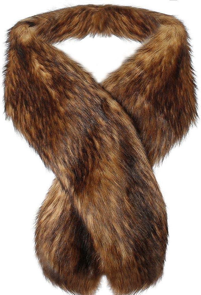 Dikoaina security Women's Men's Extra Boston Mall Large Faux Fur Co Scarf Raccoon Fox