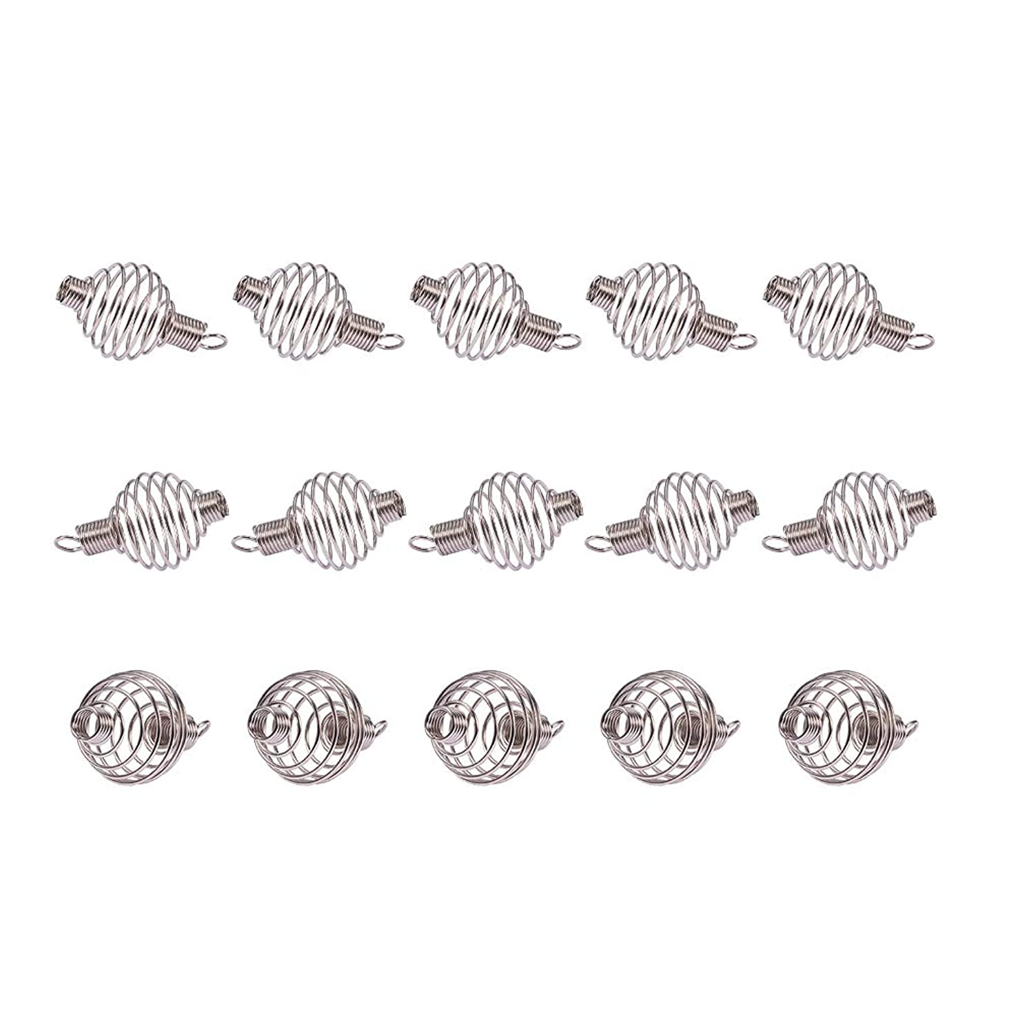 PandaHall Elite 15Pcs Stainless Steel Spiral Round Bead Cages Size 34x19mm in a Box for Pendants Making