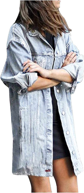 Denim Jacket Super popular specialty store for Women Long Jean Outwear Coat Casual Detroit Mall Over Hoodie