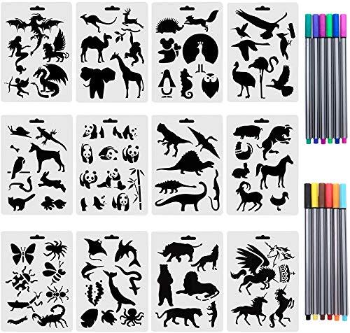 TANCUDER 12 Stück Schablonen Tierschablonen DIY Craft Schablonen Kunststoff Vorlagen Tiere Malschablonen Zeichenschablonen Bullet Journal Schablonen mit 12 pcs Fineliner-Stiften für Malerarbeiten