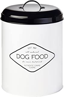 Amici Pet A7CDI017R Buster All Natural Dog Food Large Metal Storage Bin, White