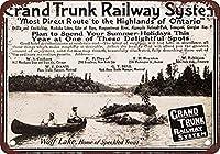 グランドトランク鉄道 金属板ブリキ看板警告サイン注意サイン表示パネル情報サイン金属安全サイン