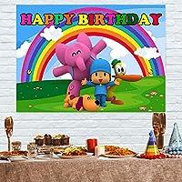7x5ftキッズ漫画背景POCOYO赤ちゃんの誕生日パーティーの装飾用品バナー写真虹背景写真背景漫画背景写真誕生日写真背景