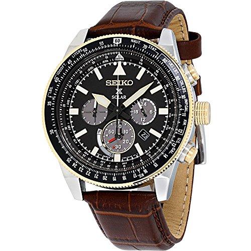 Seiko SSC632 Prospex Brown Leather Black Dial Men's Chronograph Watch