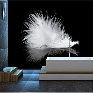BNUIBOIUZ Modern Minimalist 3D HD Wall Paper Black and White Feathers Backdrop Decoration Painting Wallpaper Home Decor@200 * 140Cm