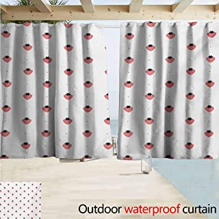 Lcxzjgk Strawberry Outdoor Door Curtain Healthy Summer Snacks Organic Nutritious Fruits Tasty Sweet Doodle Style Waterproof Patio Door Panel W55 xL63 Black White Coral
