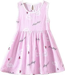 Girls Swan Printed Cartoon Sundress Princess Dresses