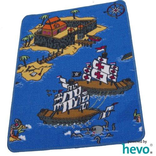 HEVO Piraten Teppich | Kinderteppich | Spielteppich 67 x 92 cm