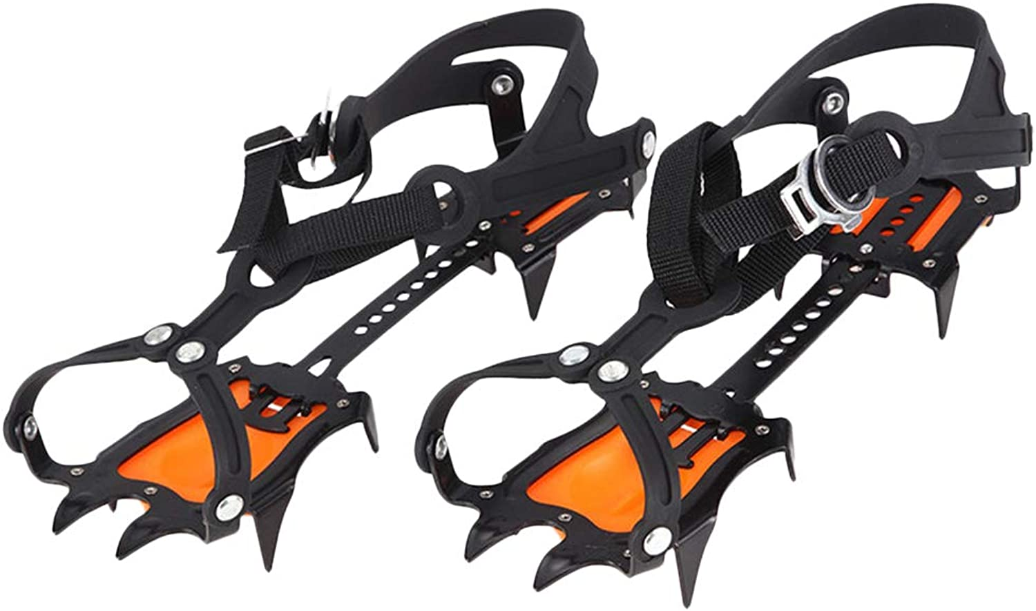 Fityle Nonskid Teeth Claws Crampons Spikes Traction Cleats Ice Snow Grips for Climbing Hiking Walking