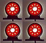 4 luces LED giratorias de 24 V, color rojo y blanco