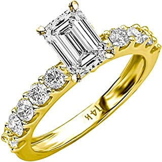 2.7 Ctw 14K White Gold Classic Side Stone Prong Set Emerald Cut GIA Certified Diamond Engagement Ring (1.7 Ct H Color VS1 Clarity Center Stone)
