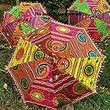 The Art Box indischer handgefertigter Designer Hochzeitsschirm Dekorative Baumwolle Sonnenschirme Vintage Baumwolle Bestickt Party Decor