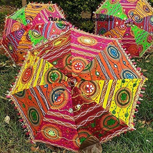 The Art Box indischer handgefertigter Designer-Hochzeitsschirm aus Baumwolle, dekorativer Sonnenschirm, Vintage-Stil, Baumwolle, bestickt, Partydekoration