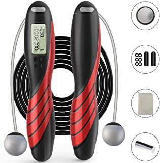 Jump Rope, Adjustable Weights/Length Digital Counting...