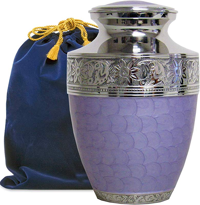 Eternal Peace Beautiful Lavender Adult Cremation Urn For Human Ashes A Gorgeous Large Urn Dazzling To See And Hold And Will Bring Comfort Every Time You See This Loving Urn With Velvet Bag
