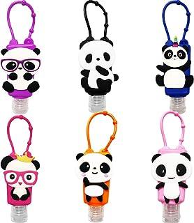 VHOPMORE 6Pcs Kids Portable Empty Travel Bottles Hand Sanitizer Holder Cute Panda 1 oz Leak Proof Refillable Plastic Bottl...
