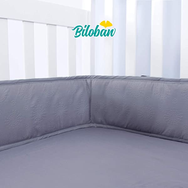 Breathable Mini Crib Bumpers For Baby Crib 38 X 24 1 Piece Nursery Safe Machine Washable Padded Crib Bumper Liner For Boys Gray
