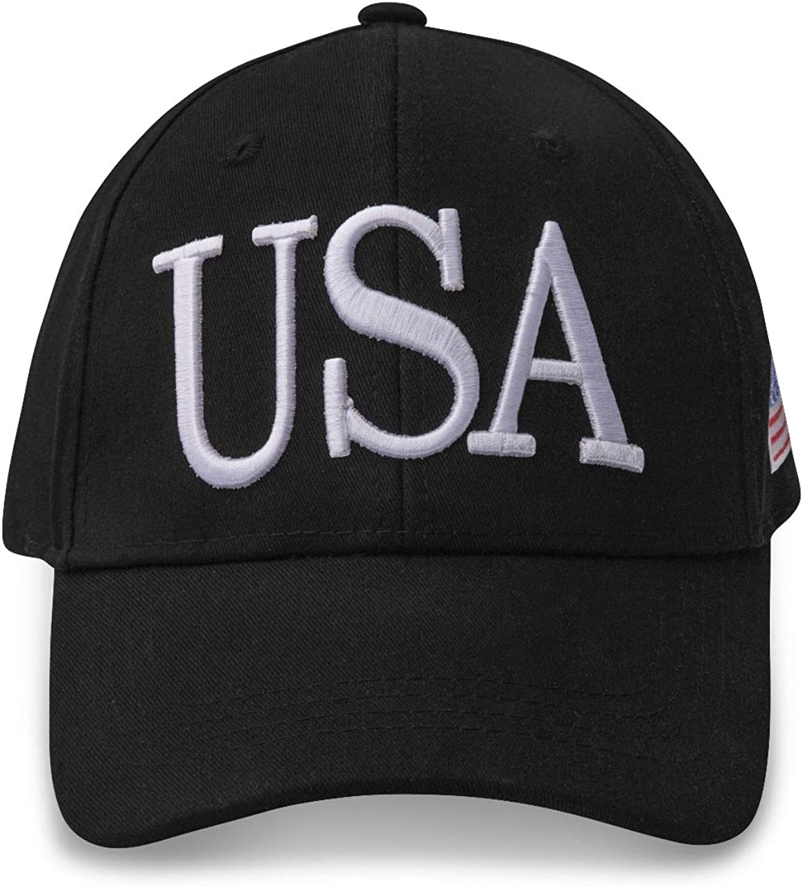 Shopers Variety USA Baseball Cap Polo Style Buckle Adjustable Embroidered Dad Hat American Flag for Men and Women Black